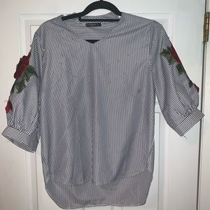 Striped Blouse with rose embellishment